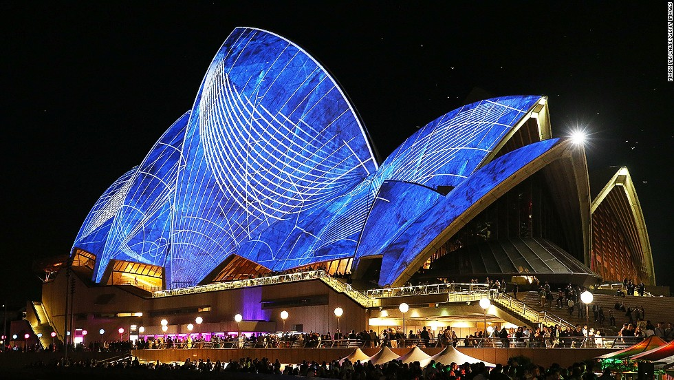 New South Wales Premier Mike Baird hit the light switch for the lighting of the sails. More than 200 events showcasing design, digital media and music are part of the festival, which provided a $20 million boost to the New South Wales economy, according to festival organizers.