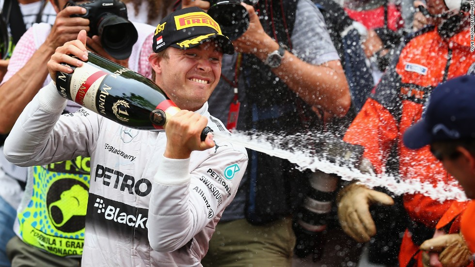 Mercedes driver Nico Rosberg celebrates victory at Sunday's Monaco Grand Prix the only way Formula One drivers know how, with lots and lots of champagne.