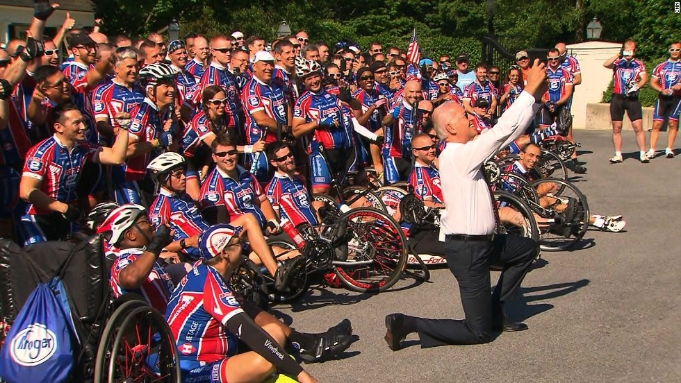 On Memorial Day, Vice President Joe Biden snapped a selfie with veterans cycling in the Ride 2 Recovery Memorial Challenge. More than 200 cyclists met at the Naval Observatory, which is the vice president's home in Washington, before they set off on a 350-mile bicycle ride to Virginia Beach, Virginia.