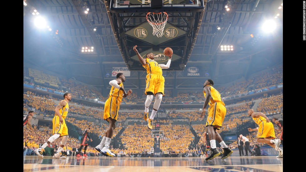 Paul George of the Indiana Pacers pulls down a rebound during Game 2 of the NBA's Eastern Conference finals, which the Pacers lost to the Miami Heat 87-83 on Tuesday, May 20.