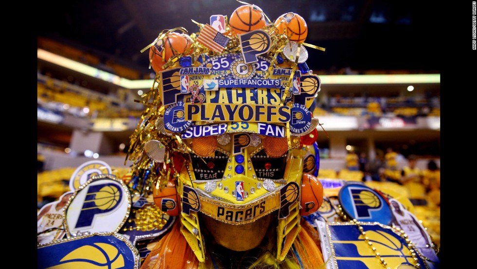 An Indiana Pacers fan is seen prior to Game 2 of the NBA's Eastern Conference finals on Tuesday, May 20.
