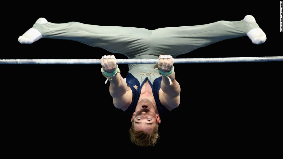 Sean O'Hara competes on the high bar Sunday, May 25, during the Australian Gymnastics Championships in Melbourne.