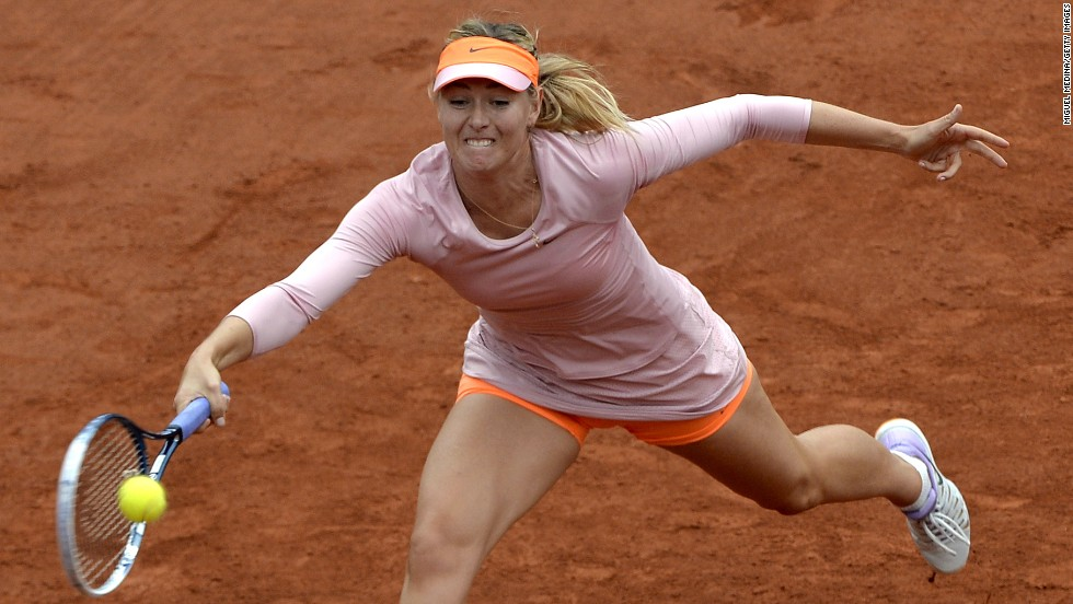 Maria Sharapova has to stretch for a return during her opening round victory at the French Open as she bids for a second title at Roland Garros.