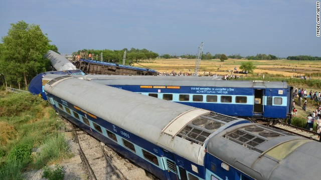Preliminary reports indicate that six cars of the Gorakhdam Express passenger train collided with a stationary cargo train.