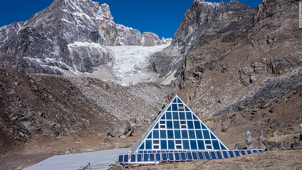 The Pyramid International Laboratory/Observatory high altitude scientific research center is located at 5,050 meters, at the base of the Nepali side of Everest. <br />Since 1990, it has been offering the international scientific community a chance to study the environment, climate, human physiology and geology in a remote mountain protected area. <br />
