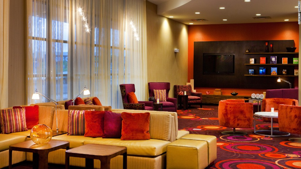 The Courtyard lobby at the Syracuse two-pack features different decor.