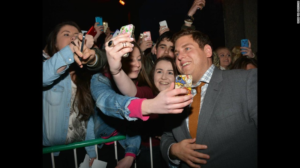 Actor Jonah Hill takes selfies with fans in Dublin, Ireland, on Friday, May 23.