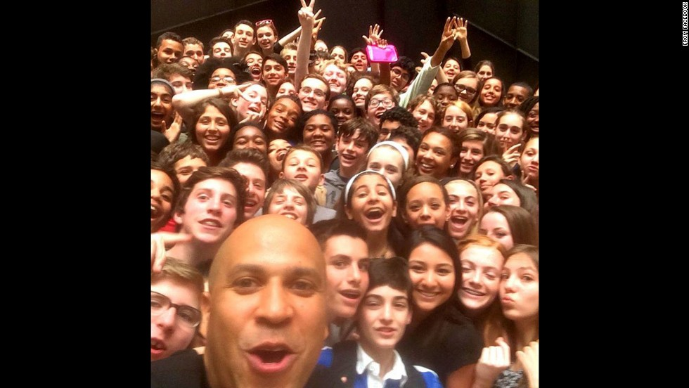 """Met with the 8th graders from Glenfield Middle School today, naturally we had to take a #selfie,"" <a href=""http://on.fb.me/1ma3pqC"" target=""_blank"">said U.S. Sen. Cory Booker</a>, D-New Jersey, on Wednesday, May 21."