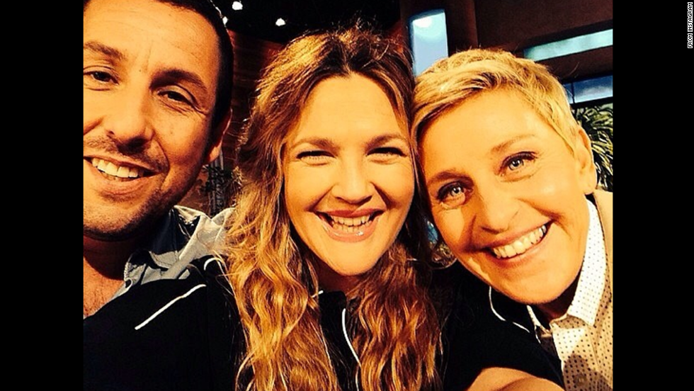 "Talk show host Ellen DeGeneres, right, smiles with actors Adam Sandler and Drew Barrymore in this selfie posted to <a href=""http://instagram.com/p/oWmlHgtjOG/"" target=""_blank"">her Instagram account</a> Friday, May 23. ""#Blended opens in theaters today,"" she said. ""Go see it, and follow the wonderful @DrewBarrymore for more photos like this."""