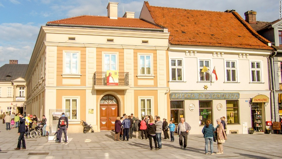 Wadowice, the hometown of Pope John Paul II, is expecting an influx of visitors after his recent canonization. The modest apartment block where John Paul II lived as a boy (pictured) has been turned into a museum exhibiting mementos of his life.