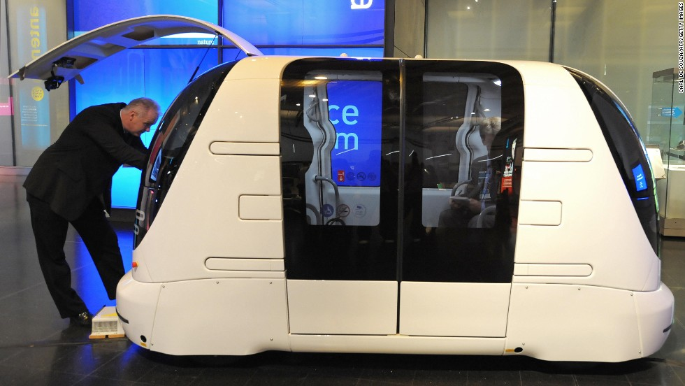 "This driverless vehicle, shown in 2009, is part of a 21-strong fleet operating at<a href=""http://edition.cnn.com/2009/TRAVEL/10/16/flight.innovations/index.html?eref=rss_travel""> London Heathrow Airport</a>. The pod can carry four passengers with their luggage and can travel at up to 25 mph."
