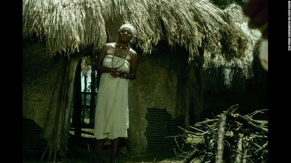 "Angelou acts in a scene from the television miniseries ""Roots"" in 1977."