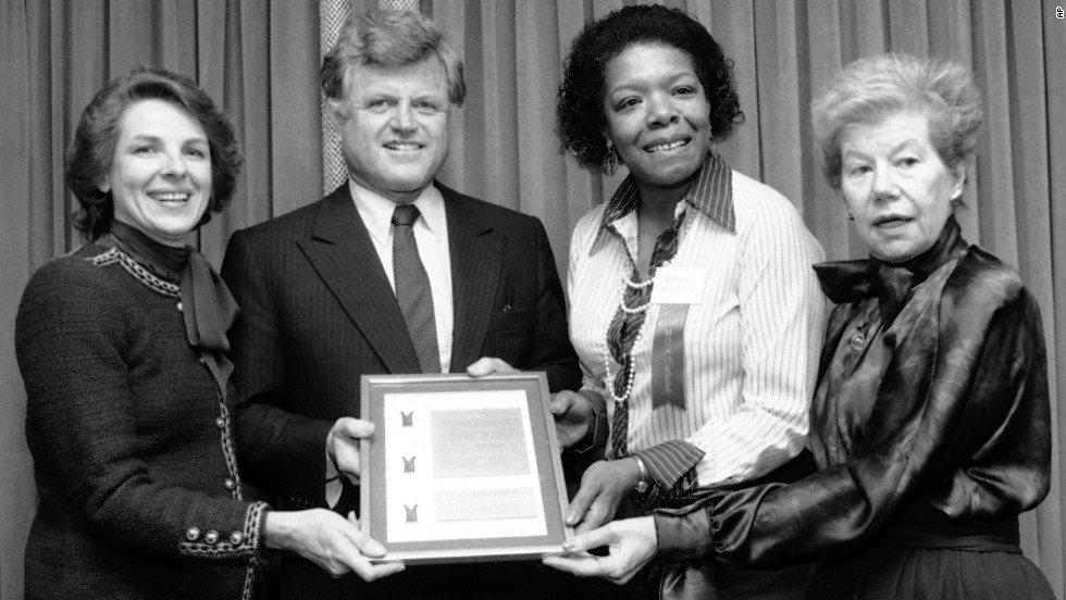Angelou poses with U.S. Sen. Ted Kennedy and two other women who received the 1983 Matrix Award from the New York Chapter of Women in Communications. At the far left is Jane Bryant Quinn, contributing editor of Newsweek and Woman's Day. At the far right is Mary McGrory, syndicated columnist for The Washington Post.