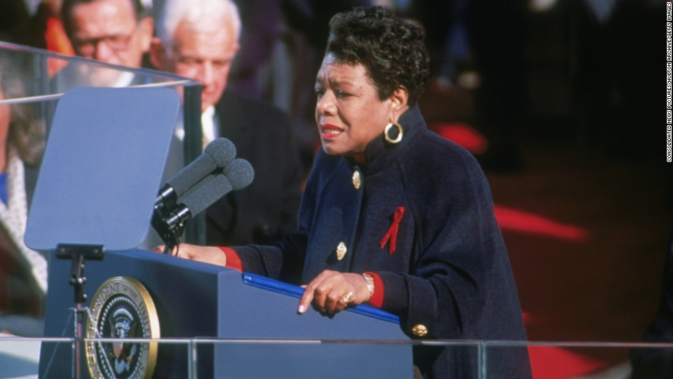 "Angelou recites her poem ""On the Pulse of Morning"" at the inauguration of President Bill Clinton in 1993."
