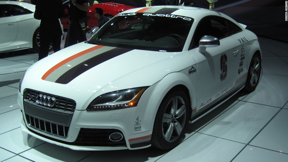 This autonomous Audi TTS Pikes Peak was unveiled in 2010. The vehicle features a pair of trunk-located computers that allow it to drive on the outer edges of its speed and handling limits without a driver.