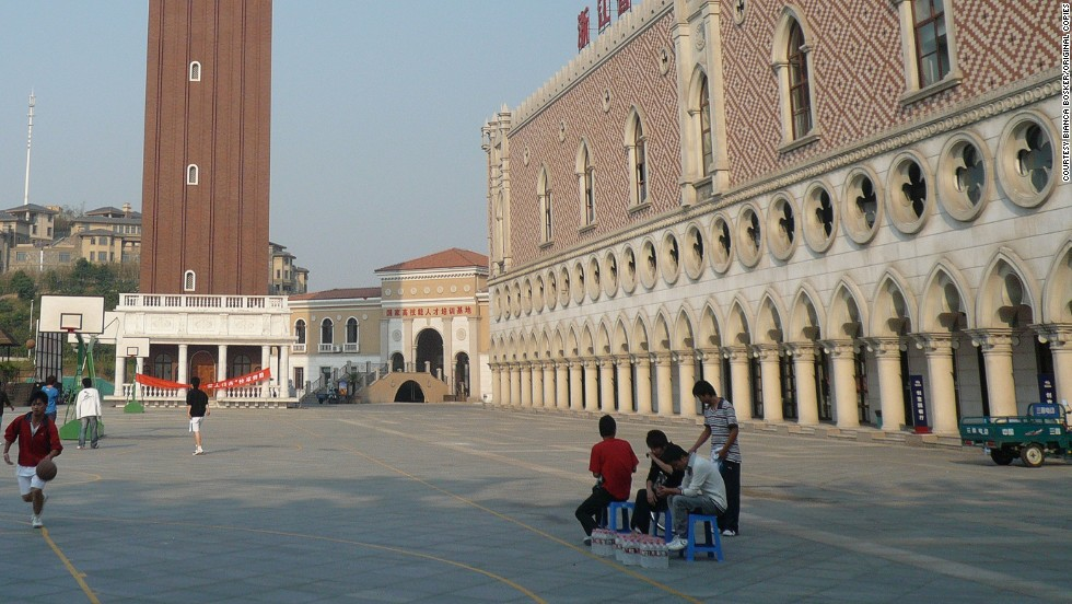 """Chinese youths play basketball in the replica version of Venice's Piazza San Marco in Huangzho, eastern China.<br /><br />""""I think in many ways they (the Chinese) are appropriating the culture and cultural achievements of the west,"""" Bosker continued. <br /><br />""""They're doing this not only as a way of experimenting with a new lifestyle but also as a way of showing that they have made it."""""""