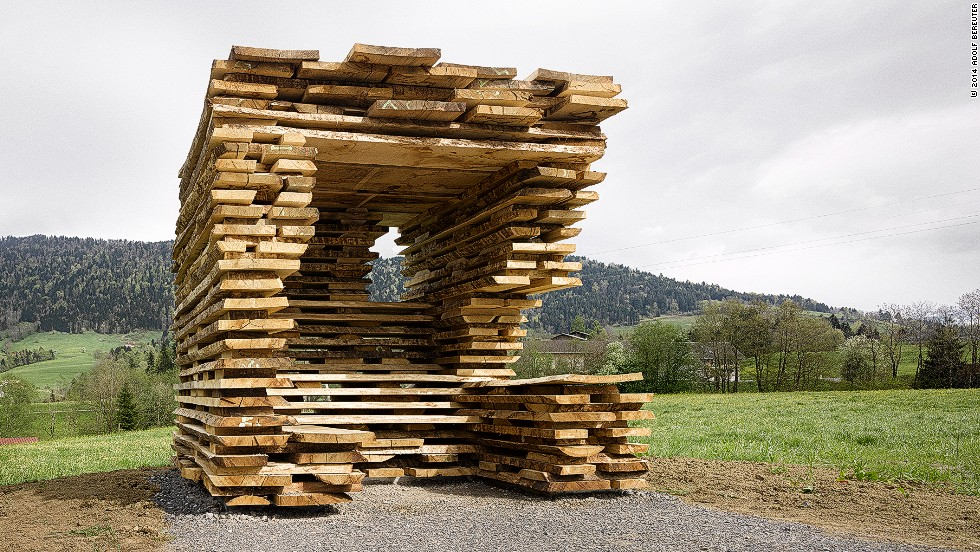 """Around 300 local volunteers were involved in the project, with each international architect paired with a local partner. Debora Mesa and Anton Garcia-Abril of <a href=""""http://www.ensamble.info/"""" target=""""_blank"""">Ensemble Studio</a>, who were behind this rustic looking bus stop, say that they were intrigued by the extravagant nature of the commission: """"It's an experimental idea. We were curious to see the outcome and be part of it."""""""