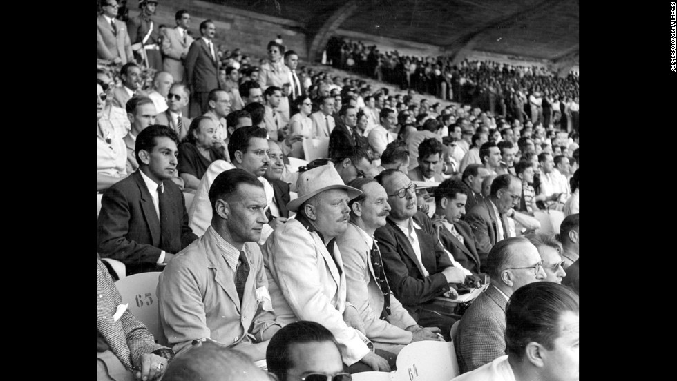 Members of the press watch the opening match of the 1950 World Cup, which Brazil won 4-0 over Mexico at the Maracana Stadium. Because of World War II, there hadn't been a World Cup since 1938.