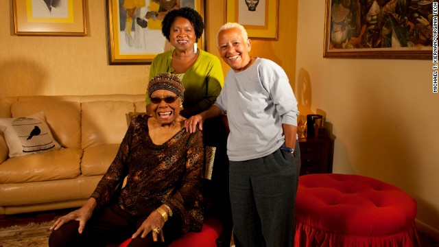 """Doc"" Maya Angelou (seated) with Joanne Gabbin (left) and Nikki Giovanni in 2012."