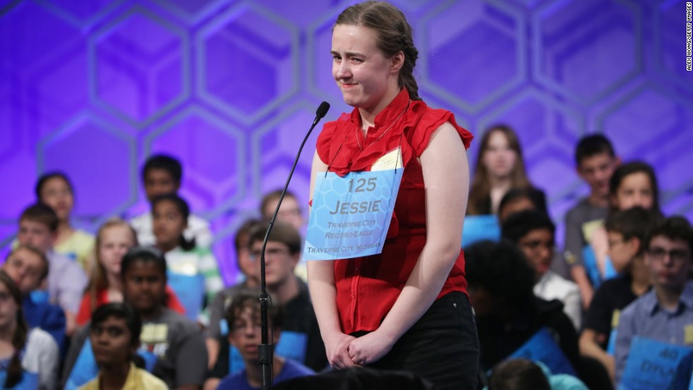 Jessie Skylar Williams, of Traverse City, Michigan, reacts after misspelling a word on May 28.