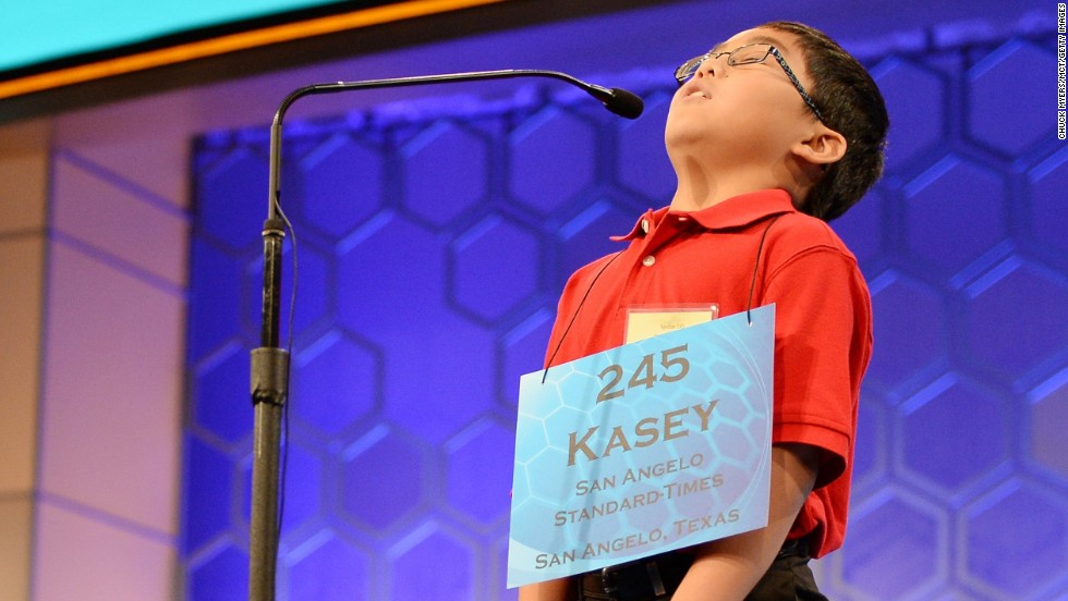 Kasey Cuenca Torres, of San Angelo, Texas, shows relief after spelling a word correctly on May 28.