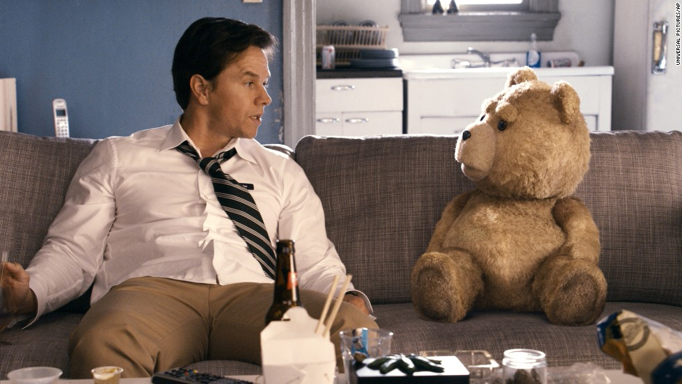 "Mark Wahlberg with the character Ted, voiced by MacFarlane, in a scene from the 2012 film ""Ted."""