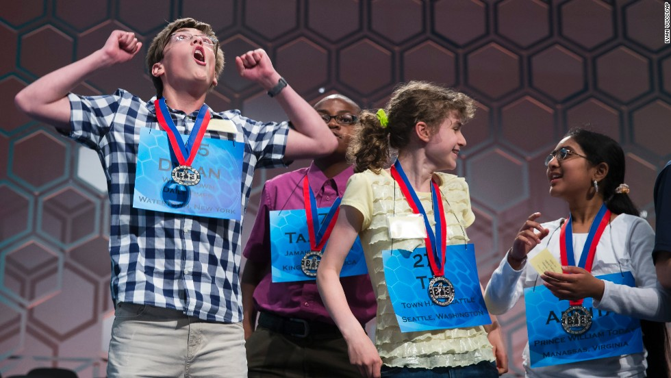 From left, Dylan O'Connor, of Alexandria Bay, New York; Tajaun Gibbison, of Mandeville, Jamaica; Tea Freedman-Susskind, of Redmond, Washington; and Ankita Vadiala, of Manassas, Virginia, celebrate May 28 after qualifying for the semifinal round.