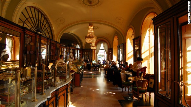 Budapest's Gerbeaud coffee house -- as dark and rich as the brews it's been serving since the days of communism.