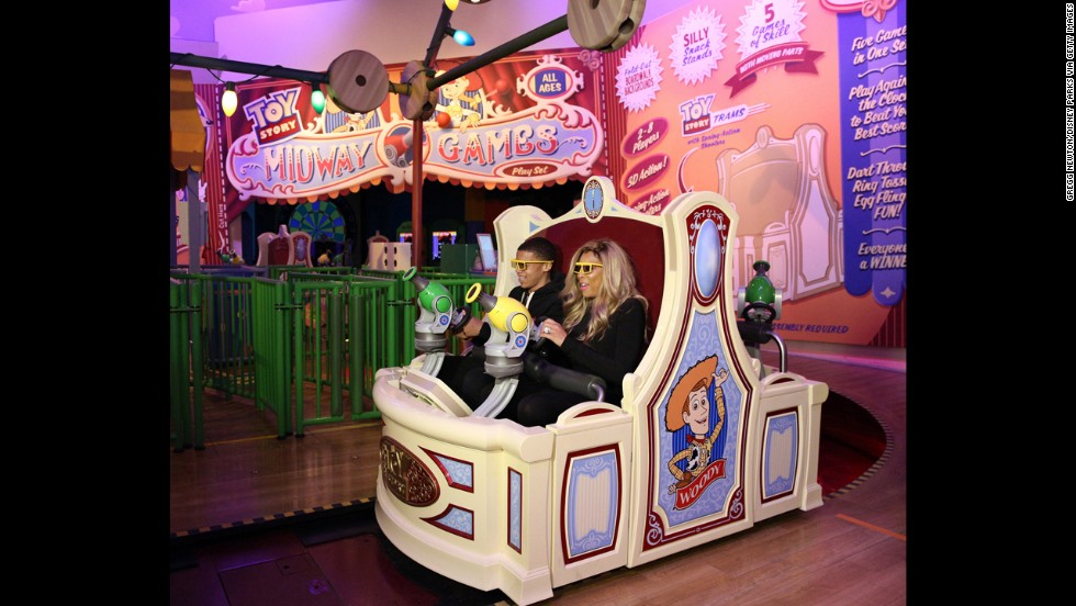 8. Disney's Hollywood Studios theme park at Florida's Walt Disney World Resort welcomed daytime TV talk show host Wendy Williams and her son Kevin, shown here on a ride on Toy Story Midway Mania!