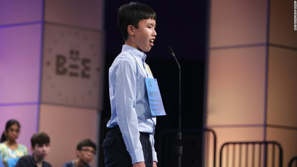 Timothy Lau, of Torrance, California, reacts after correctly spelling a word on May 29.