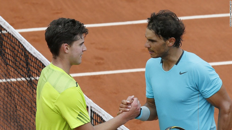 Nadal and 20-year-old Thiem shake hands after their second round match at the French Open on Philippe Chatrier.