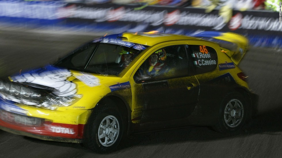 Rossi has also turned his hand to four wheels and drove for Peugeot in the 2002 Rally of Wales GB.