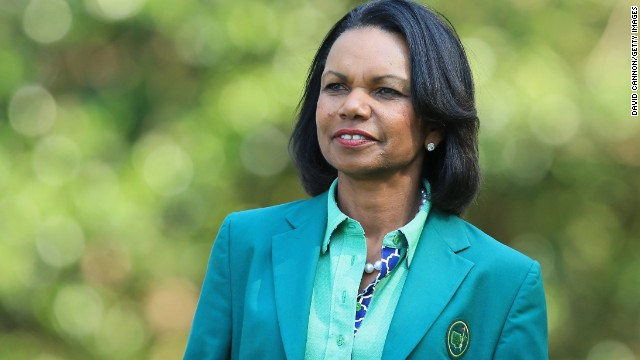 Condoleezza Rice, former Secretary of State and current Augusta National Member, attends the 2014 Par 3 Contest prior to the start of the 2014 Masters Tournament at Augusta National Golf Club on April 9, 2014 in Augusta, Georgia.