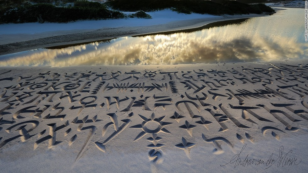 "Van der Merwe, 49, started designing these intricate pieces at beaches around Cape Town as a means of getting away from his desk. He explains: ""When you work as a calligrapher, you sit at a desk and you sit with a small piece of paper in front of you and you channel all your energy through a nib onto a tiny little piece of paper. <br /><br />""When I was younger, that did it for me, but I began to feel a bit frustrated and getting out on to the beach and using your whole body in an energetic way to do your calligraphy is really refreshing for me.""<br /><br />While he started by using sticks to dig out the patterns, soon Van der Merwe started developing specialized tools for his hobby, including modified buckets and shovels. He also began fashioning footprint-free sandals by attaching flat, wooden paddles to his shoes so as not to leave a mark on his elaborate designs in the sand. ""It's quite strenuous. If I work with one of my bigger tools, it pulls out easily up to two kgs of sand at a time,"" he adds."