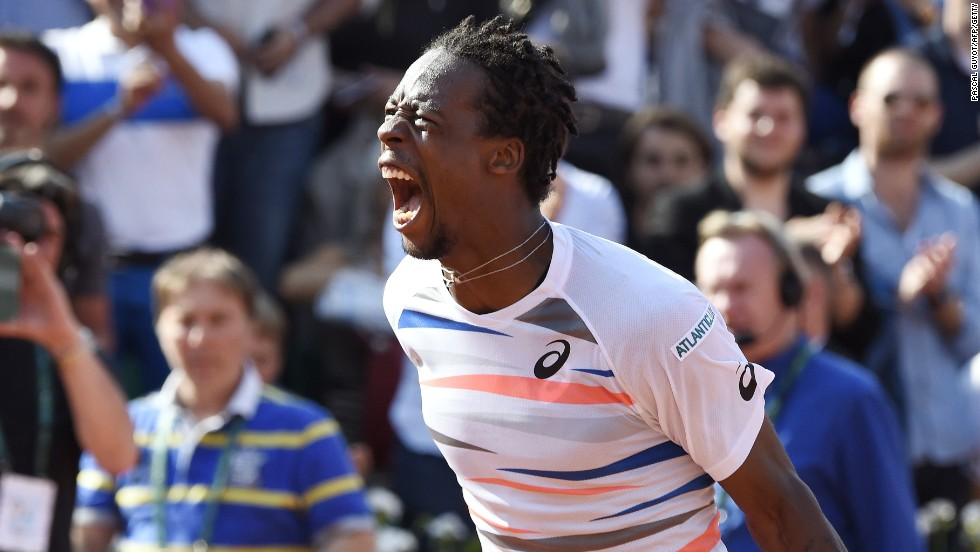 Ever the showman. Gael Monfils delighted himself and his French home crowd with a five-set win over Fabio Fognini.