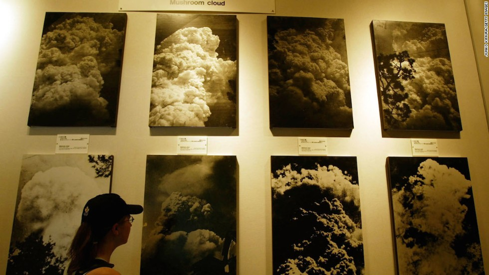 Numerous photographs of the mushroom cloud created when the atomic bomb was dropped are on display in the Hiroshima Peace Memorial Museum.