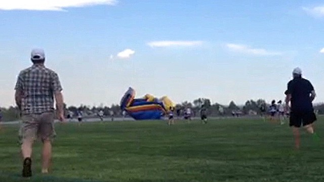 Away House Bounce House Flies Away With