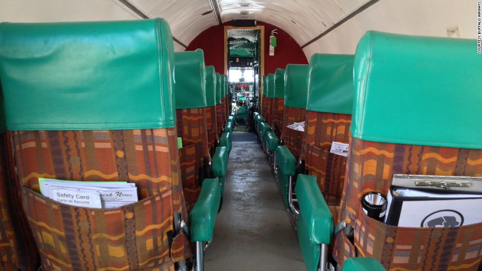 "The passenger cabins aboard Buffalo Airways' six operating DC-3s offer passengers simple comforts. ""There's coffee and cookies and juice,"" airline owner and pilot Joe McBryan said."