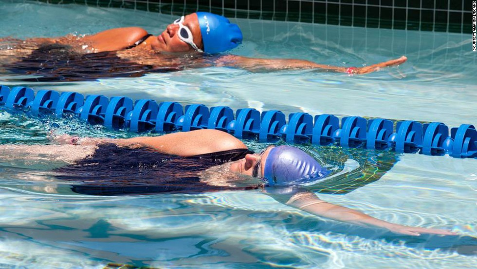 """Connie Sievers, front, works on her swim form. """" 'The process' does work!"""" she said. """"Healthy lifestyle changes can happen with time and perseverance."""""""
