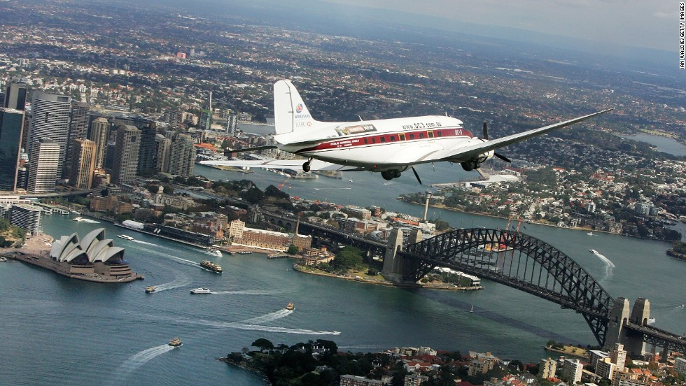 A DC-3 carrying ex-service men and women flies over Sydney Harbor on Australia New Zealand Army Corps Day to commemorate the anniversary of the World War I invasion of Gallipoli.