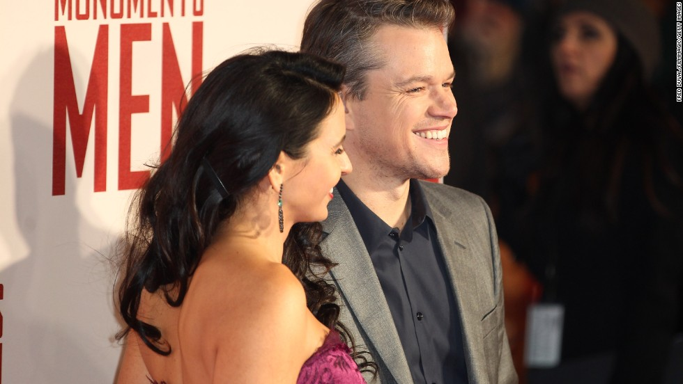 "Damon and wife Luciana Barroso cleaned up well for the ""Monuments Men"" premiere in London in February 2014."