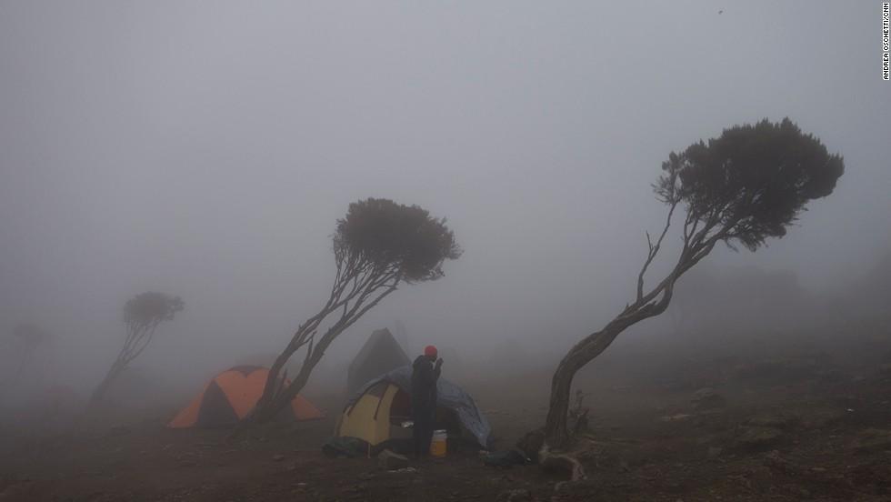 New Shira camp at 3,840 meters above sea level.