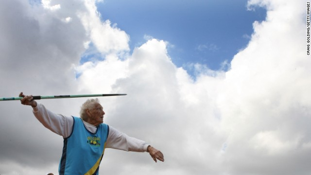 SYDNEY, AUSTRALIA - OCTOBER 18: Ruth Frith aged 100 competes in the Throws Pentathlon during the Sydney 2009 World Masters Games at the Sydney Olympic Park Athletic Centre on October 18, 2009 in Sydney, Australia. (Photo by Craig Golding/Getty Images for Sydney 2009 World Masters Games)  (Photo by Craig Golding/Getty Images)