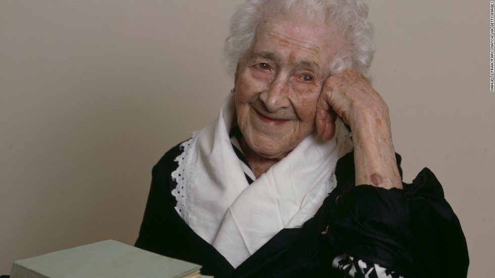 Jeanne Calment was born on February 21, 1875, and lived to the age of 122 in Arles, France (home of the painter Vincent Van Gogh, whom she met as a little girl). At 85, she took up fencing lessons. At 100, she was still riding her bike. She said she ate more than two pounds of chocolate a week and only quit smoking at age 120 -- not for health reasons, but because she could not see well enough to light her cigarettes. She credited her longevity to port wine, her sense of humor and a diet rich in olive oil. She died in August 1997.