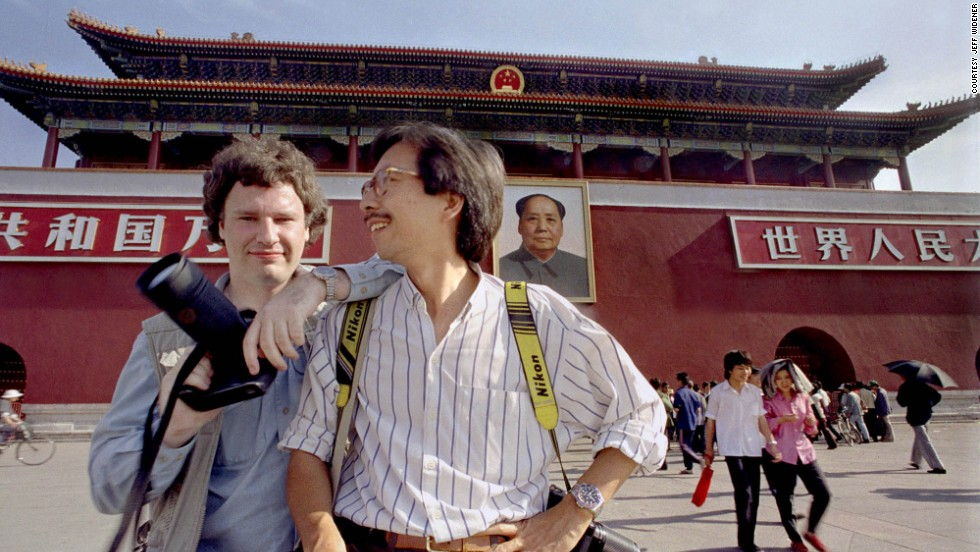 "Widener with fellow photojournalist Liu Heung-Shing at Tiananmen Square in late May of 1989. Regarding future June 4 anniversaries, Widener says: ""This might be the final chapter for me. I can't keep doing this story for the rest of my life. I've done my bit to tell the story."""