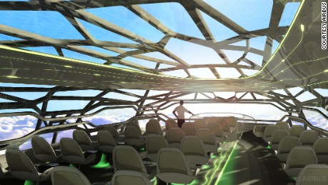 AIrbus#39; futuristic cabin membrane can become transparent to give passengers open panoramic views.