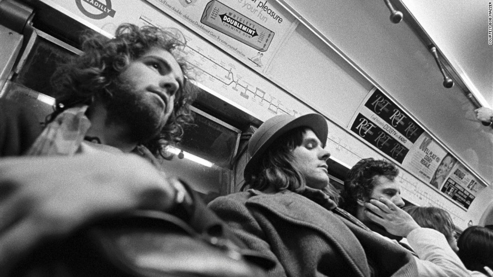 """Mazzer, in a self-portrait taken while he was at the Hornsey College of Art. The snap, taken in the the early 70s, was designed to capture the passenger next to him. Mazzer liked his hat and double-breasted herringbone coat with, with its huge lapel and """"pointy bits."""""""