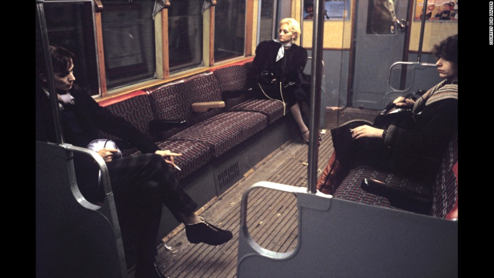 "The underground has evolved from a place where you could smoke and drink, to the bright lights of today. Forty years ago, they were ""pretty grotty and the stations were rough,"" Mazzer says. This, image from the early '80s, appealed to Mazzer because of the seating arrangement. ""They were sitting as far away from each other as possible."""