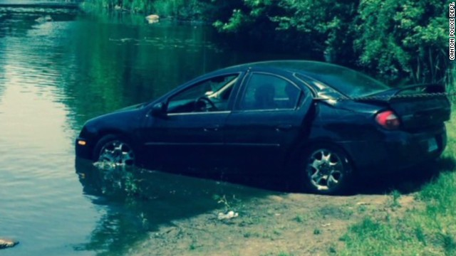 Ruh Roh! Pup's misstep puts car in pond