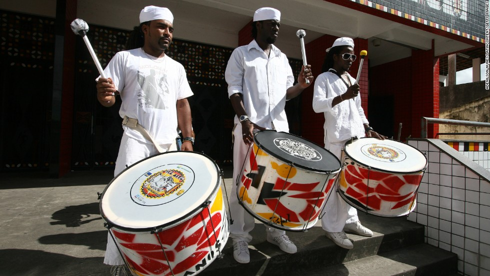 Drums are a matter of life and sometimes death in Bahia, as these funeral mourning drummers from the group Ile Aiye in Salvador demonstrate. Ile Aiye is one of the most important groups that preserves the African culture in Brazil.